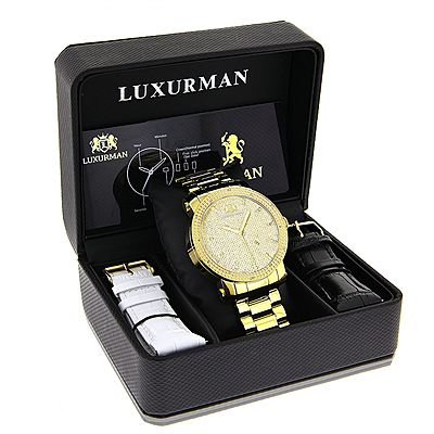This Large Luxurman Mens Diamond Watch features 0.12 carats of genuine diamonds around the bezel, a polished yellow gold plated stainless steel case and band and a yellow face paved in white sparkling stones. This elegant LUXURMAN diamond watch for men showcases a fine Japan-made quartz movement and is water-resistant to 30 m (110 ft). Brand new in full retail packaging with two extra leather bands in different colors with quick release pins (can be changed without bringing your watch to a…