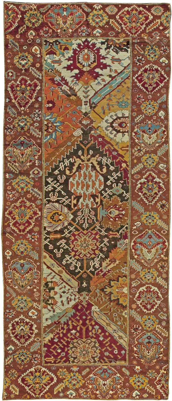 Turkish Oushak rug, 19'9'' × 8'1'', ca 1920