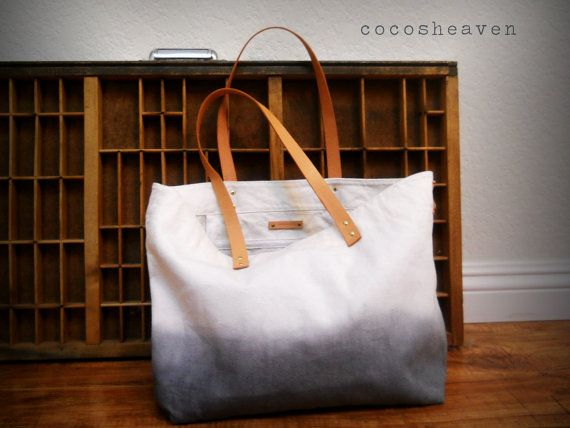 Handmade dyed canvas tote bag with leather straps