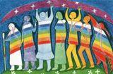 Les Guerriers de L'Arc-En-Ciel   lespacearcenciel.com En juillet 1972, lors de la grande méditation silencieuse pour la Paix, au premier rassemblement de l'Arc-en-ciel (Rainbow gathering), à Table Mountain, au Colorado, une chute de neige découpa sur la montagne, face au site, la forme parfaite d'un bison blanc… Cette manifestation fut interprétée comme un signe de l'accomplissement de la prophétie concernant la naissance de la nouvelle nation du bison blanc