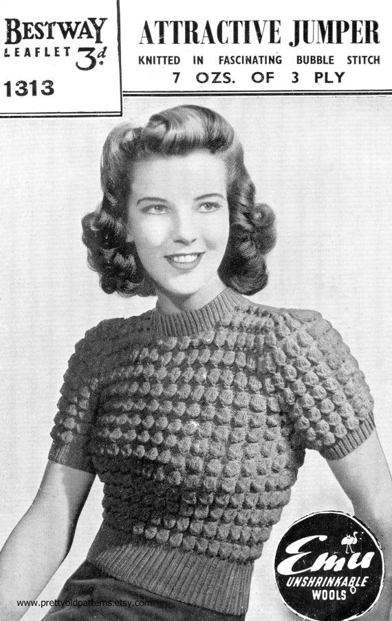 "Ladies 1940s Petite Bubble Bobble Jumper Bust 30""-34"" Bestway 1313 Vintage Knitting Pattern Download"