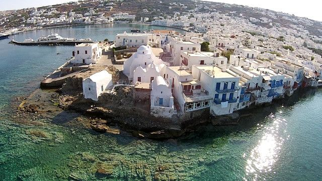 Mykonos, little Venice and church of Paraportiani, Cyclades Greece