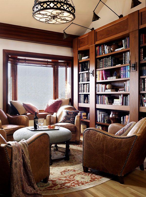 Home Library Design Ideas-love the wood color and thicker wood between shelves