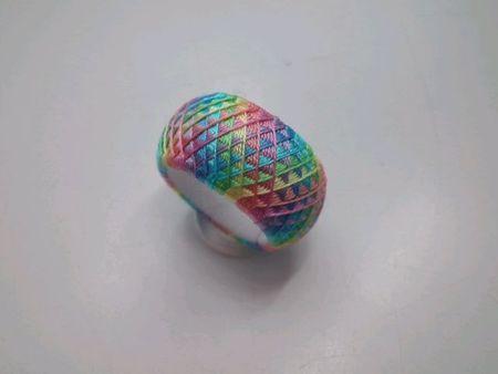 七色うろこを35分割で作りました。 「はじめての加賀ゆびぬき」の25分割の五色うろこを作っていたら、もっと細かいのに挑戦したくなって作りました。 1コマに糸5本でした。 お友達のうさこさんが七色のものは厄除けになると作られていたので、 「厄除け、厄除け~!ラッキーアイテムなの...