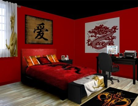 Here we have a fiery Asian Dragon themed room. Filled to the brim with fiery reds and deep contrasting blacks and all complimented by Asian themed symbology. See more at http://www.visionbedding.com/Asian-Dragon_Bedroom-rm-9879