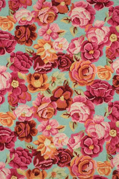 Girly-est rug ever and I love it. #DashAndAlbert Bed Of Roses Wool Hooked Rug