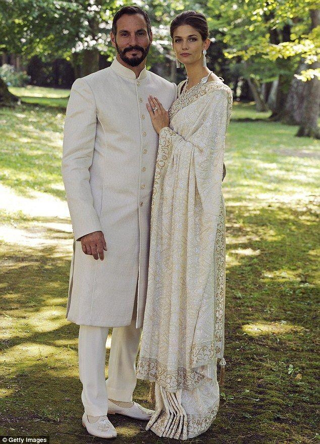 American model Kendra Salwa Spears wears a white sari for her wedding to The Ismaili, Prince Rahim Aga Khan