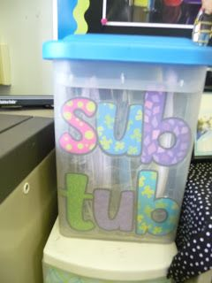 "SUBSTITUTE HELPERS: Great ideas for what to include in your very own ""sub tub!"""