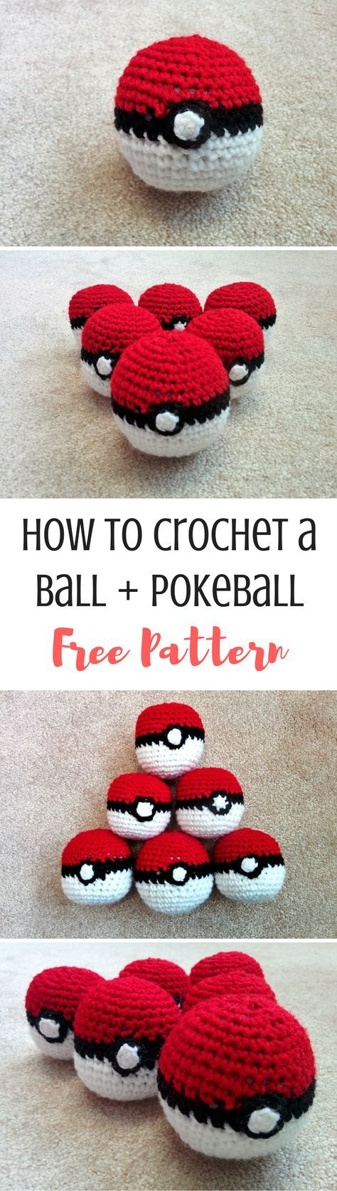 How to crochet a ball, and how to turn it into a crochet pokeball! Get the free pattern and tutorial here
