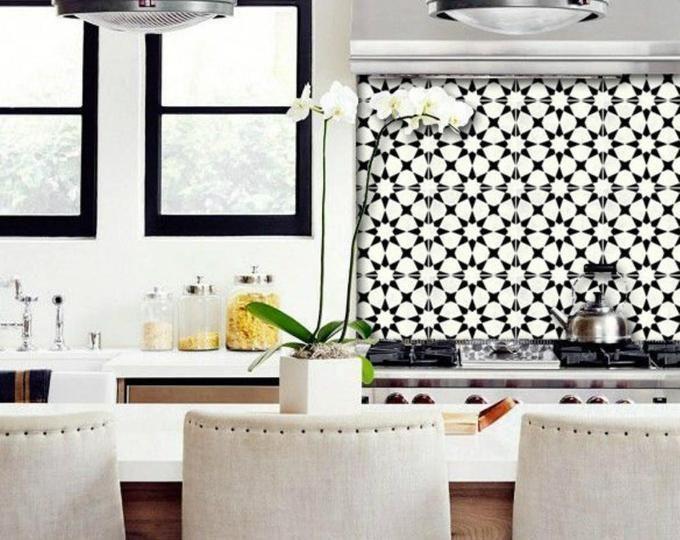 Wall Tile Decals Vinyl Sticker Waterproof Wallpaper For Etsy Tile Decals Kitchen Wallpaper Wall Tiles