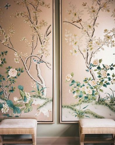 Chinoiserie wallpaper in peach, greens, and champagne.