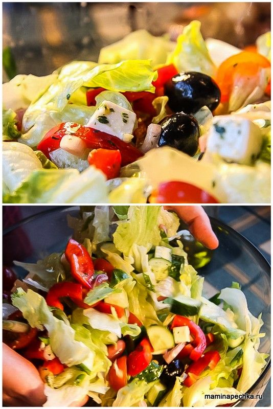 Греческий салат — салат из помидоров, феты, шалота и маслин, заправленный оливковым маслом с солью, чёрным перцем, орегано.