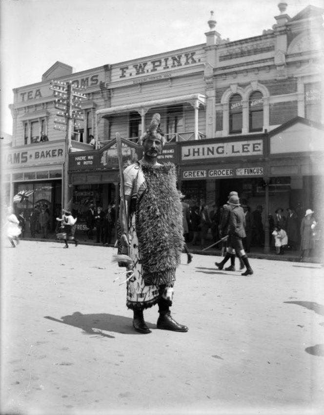 Rere Nicolson of Ngati Raukawa during the Armistice celebrations in Levin, 13 Nov 1918, by George Leslie Adkin. #Maori