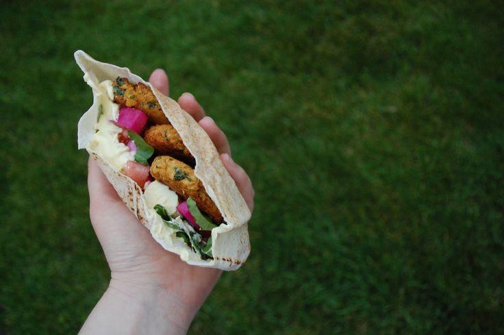Shawarma with Falafel and Garlic Sauce