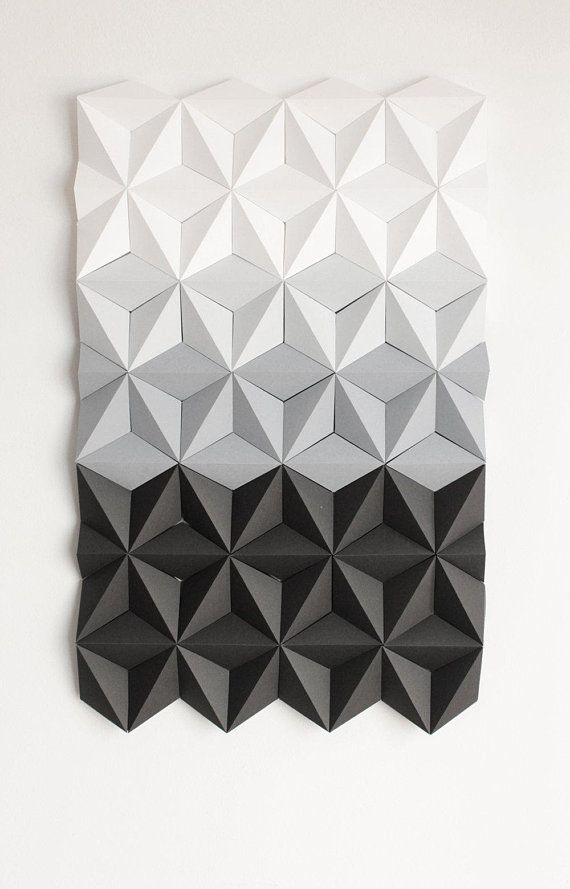 Mosaic Wall Art Black And White Wall Art 3d Geometric Wall Etsy Origami Wall Art Mosaic Wall Art Tile Wall Art
