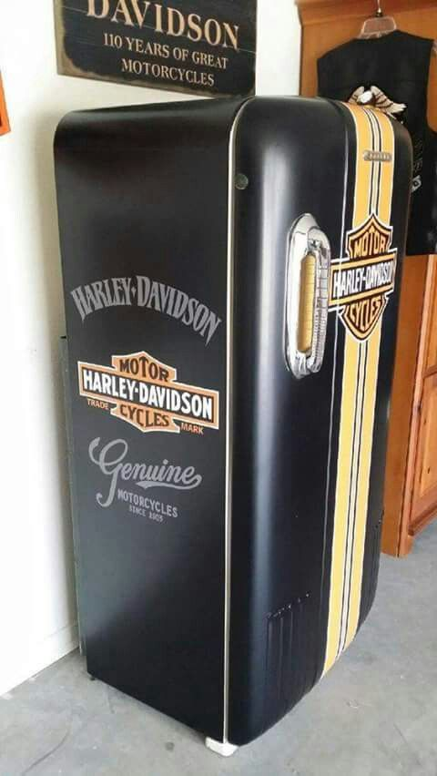 Harley Davidson Refrigerator. For the man/woman cave, garage, or in-house. For the TRUE H-D collector(s).