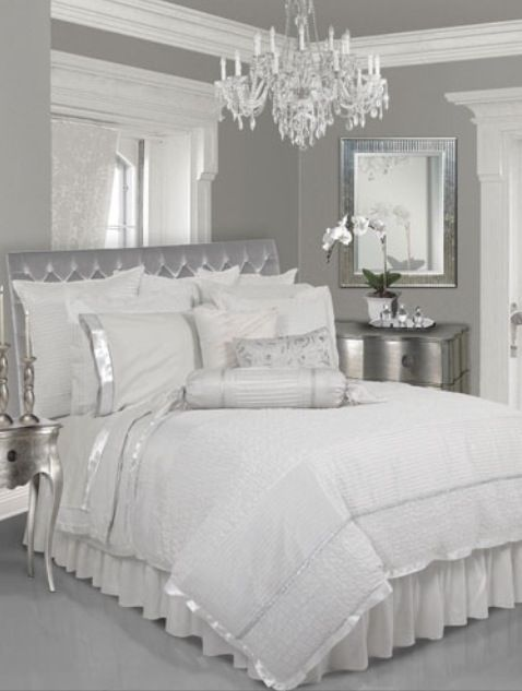 lovely black white modern bedroom | Grey walls, white trim, white bedding | Bedroom, Silver ...