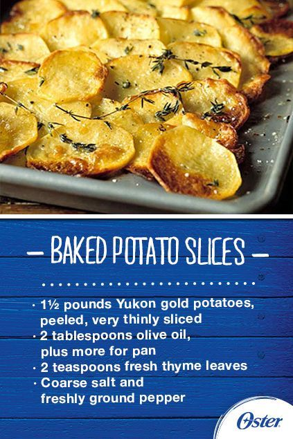 Directions: Preheat oven to 400 degrees, and place rack in the middle of the oven. In a medium bowl, combine the potatoes, olive oil, and thyme. Season with salt and pepper, and toss until well coated. Generously brush a large rimmed baking sheet with olive oil, and overlap the potato slices just slightly. Bake until potatoes are golden brown and crisp in places, about 30 minutes. [Promotional Pin]