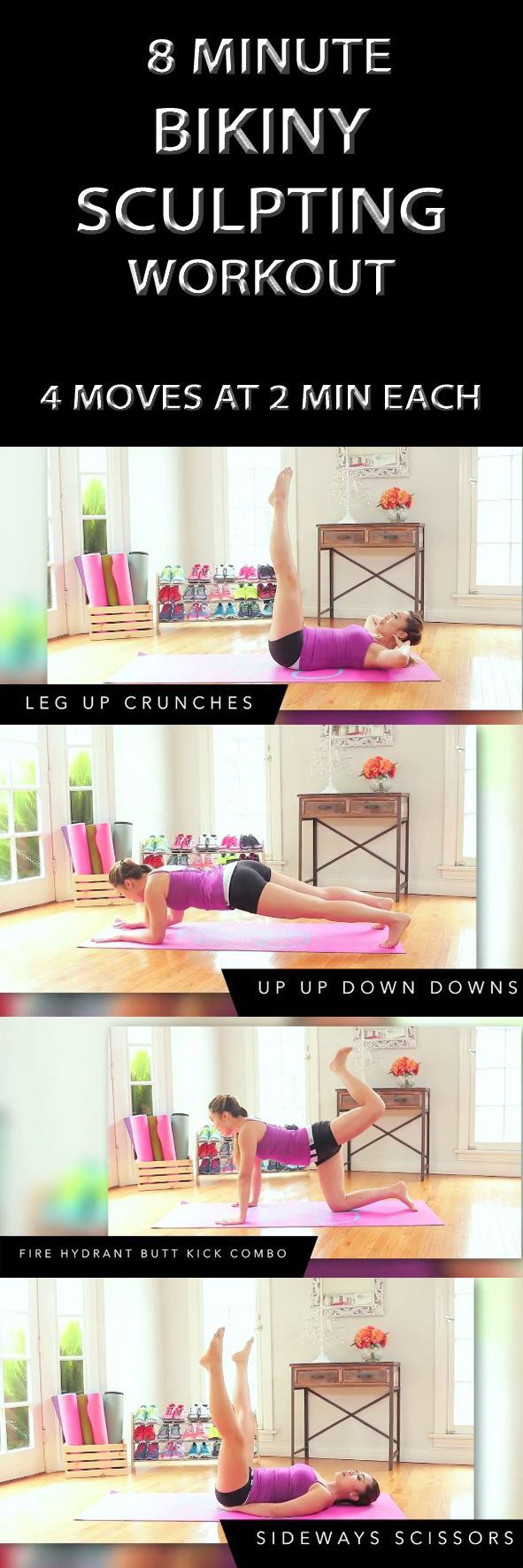 .8 MINUTE BIKINY SCULPTING WORKOUT will flatten your abs, perk up your chest, tone up your shoulders and upper body, slim your thighs, and lift your booty! It's 4 moves at 2 min each. Get ready for a real total body burn!