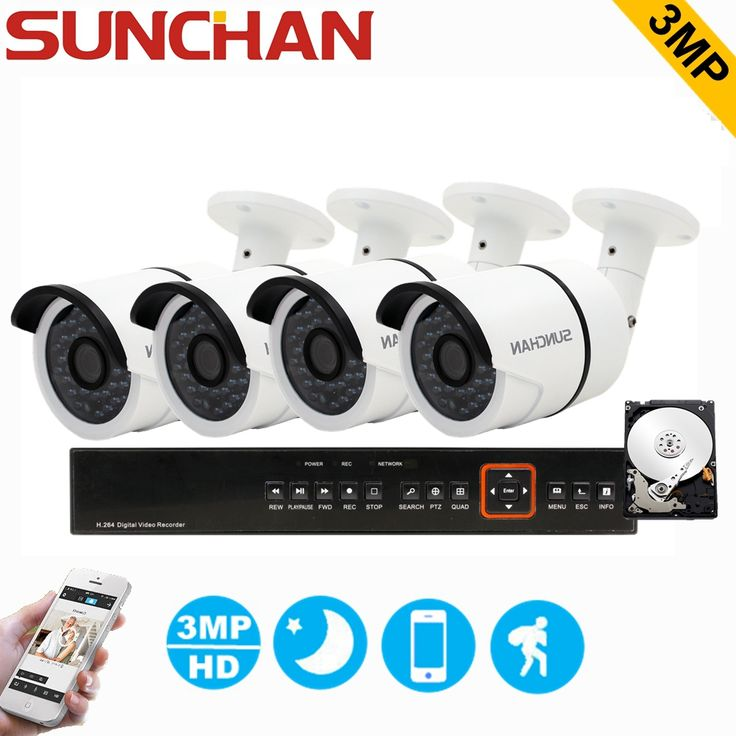 SUNCHAN 3MP TVI Hybrid 4CH DVR 4pcs 3.0MP 2048*1536 Bullet Security Camera Day/Night Outdoor Home Surveillance System with HDD #Affiliate