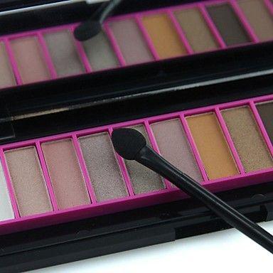 NARAS professionnel 12 couleurs palette de maquillage mat&miroitement de fard à paupières palette avec miroir&à double extrémité brosse 01 # - EUR € 6.59