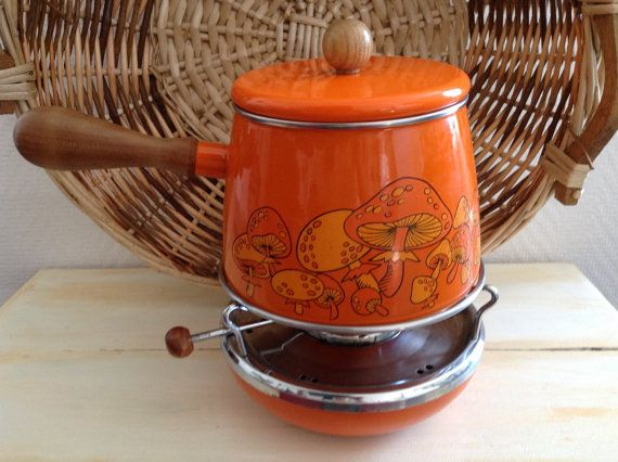 Vintage French Fondue Pot and Warmer: Retro, Mid-Century, Brasserie, Cookware