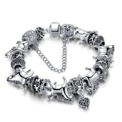 Vintage Silver Horse Charm Bracelet