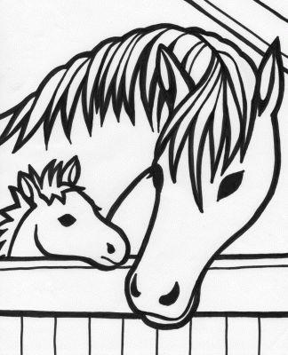 Dibujo de Caballos para pintar, imprimir y colorear sobre papel ...