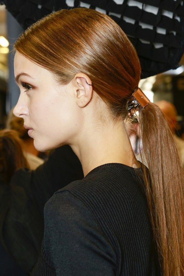 We're liking the classic low ponytail glamorized by a tortoise rubber band. Very natural & sophisticated. #SpringTrends2014