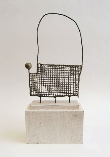 'Untitled #202' (2016) by American artist Jay Kelly (b.1961). Metal, 6.5 x 4 x 1.25 in. ty, Contemporary Basketry. via the artist's site