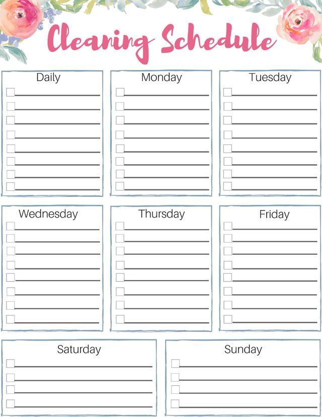 Free Customizable Cleaning Schedule Check Out This Great