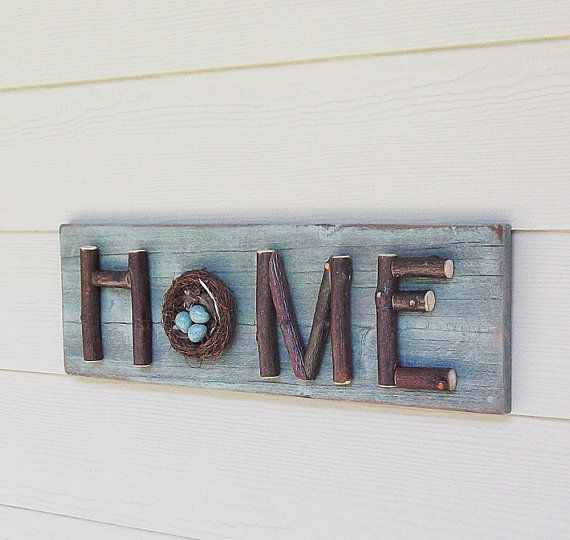 Aqua Home Sign Stick Letters Twigs Branches Bird Nest by Milepost7, $48.00