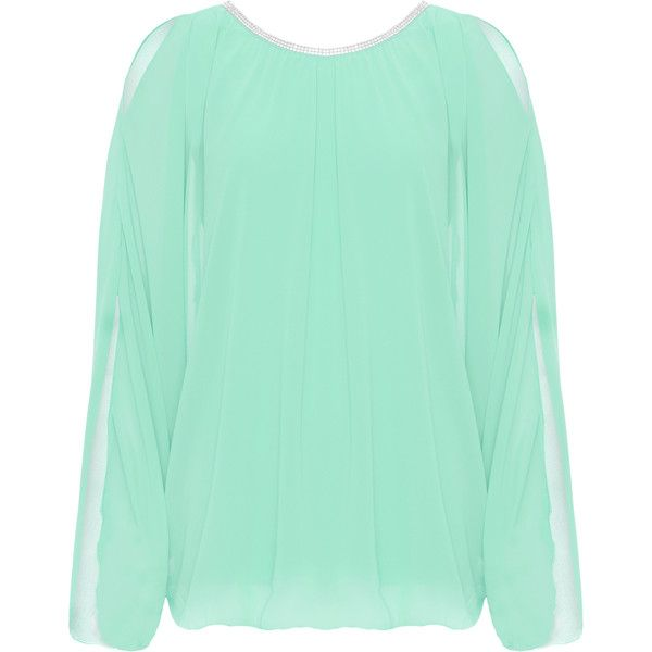 Muriel Diamante Cold Shoulder Batwing Top ($33) ❤ liked on Polyvore featuring plus size women's fashion, plus size clothing, plus size tops, mint green, cutout tops, batwing sleeve tops, open shoulder top, green top and cut shoulder tops