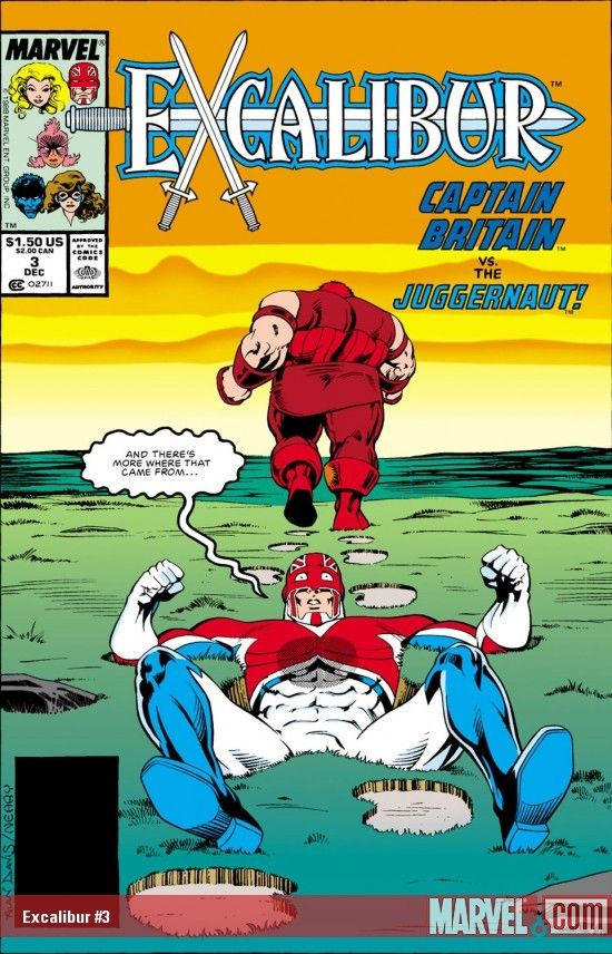 This is the cover for Excalibur #3, drawn by Alan Davis. The footprint on the chest, the expression on Captain Britain's face, the way that Juggernaut isn't paying the slightest bit of attention: priceless.