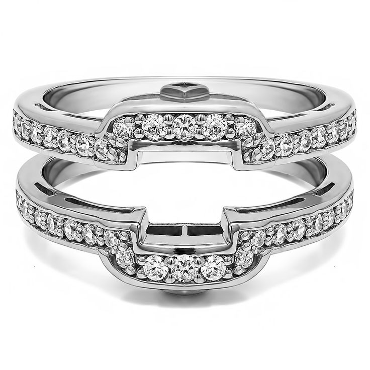10 best wedding ring images on pinterest wedding bands ring sterling silver round cubic zirconia solitaire wedding ring and squared guard set rose plated sterling silver size pink junglespirit Image collections