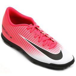 Chuteira Society Nike Mercurial Vortex 3 TF Masculina - Pink+Preto