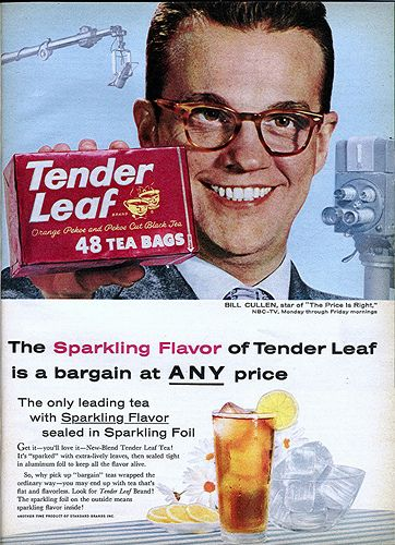 Quiz show host Bill Cullen advertising for Tender Leaf Tea - 1958 -- Bill Cullen was 'the' Price is Right host from 1956-1965.
