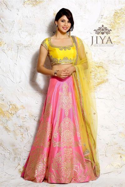 yellow blouse, pastel pink lehenga, net yellow dupatta, gota patti work