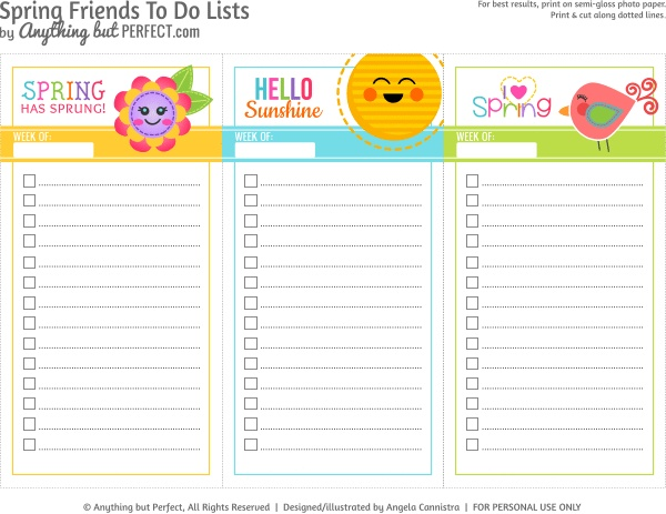 {Free Printable} Spring Friends To Do Lists from Anything but perfect