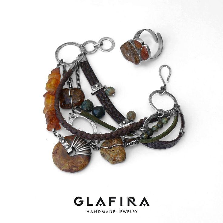 Amber, Agates, Genuine Leather and Sterling Silver Bracelet. Серебряный браслет, агаты, янтарь. Silver, corals, agates.