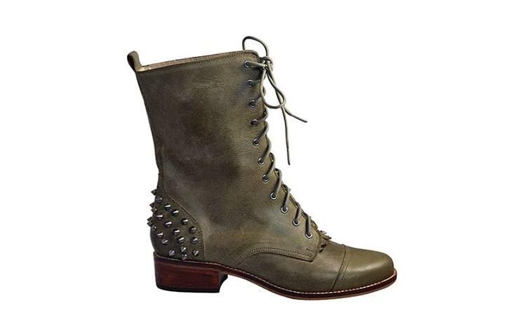 Lola - Zapatos de Diseño Botin LUCIANA CON PUAS - musgo