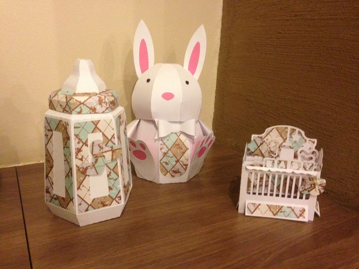 Baby Bottle, Bunny Box & Baby crib card @svgcuts