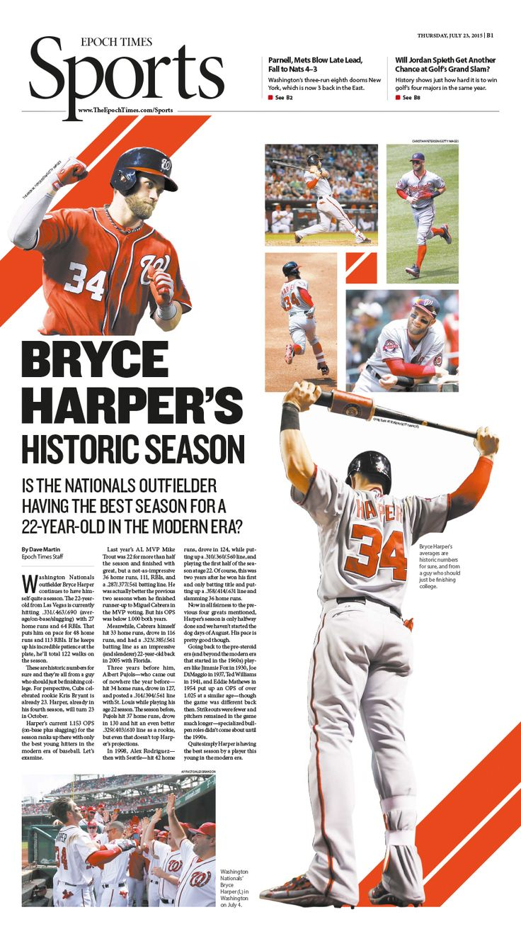 Is Bryce Harper Having the Best Season for a 22-Year-Old in the Modern Era?|Epoch Times #Baseball #newspaper #editorialdesign