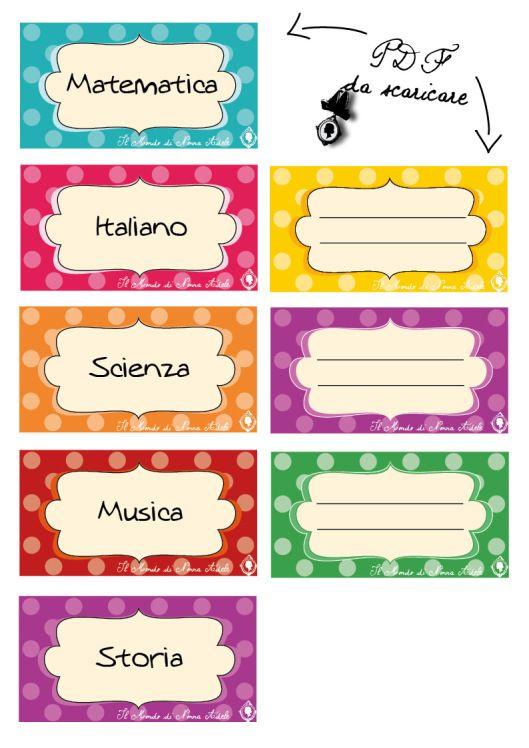 etichette per la scuola, per i piccoli e per grandi