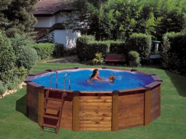 Above ground pool ground pools and pools on pinterest for Above ground pool siding ideas