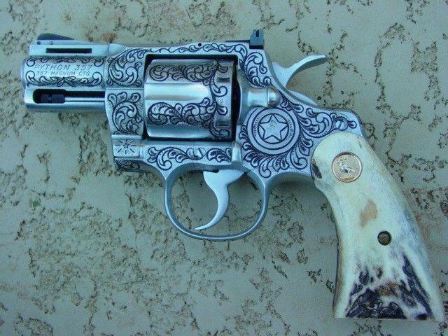 beretta revolver .22 engraved | ... ENGRAVED HANDGUNS - .357 MAGNUM PYTHON - ANTLER HANDLE REVOLVER
