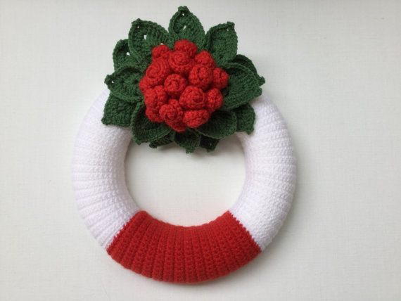 Door wreath Xmas wreath home decor Christmas wreath by JilaCrochet