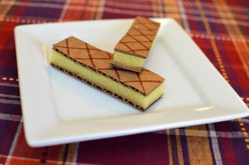 pretend play sweets using sponges from the dollar store, including these vanilla wafer cookies