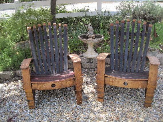Adirondack Chair made out of recycled wine barrels! How cool it this! #recycled #wine #barrels @etsy