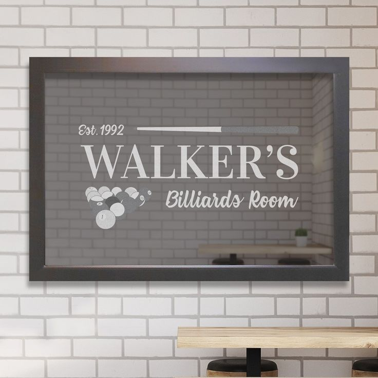 Personalized billiards bar mirror, engraved with your details. Makes a great finishing touch for your new home bar or basement remodel.